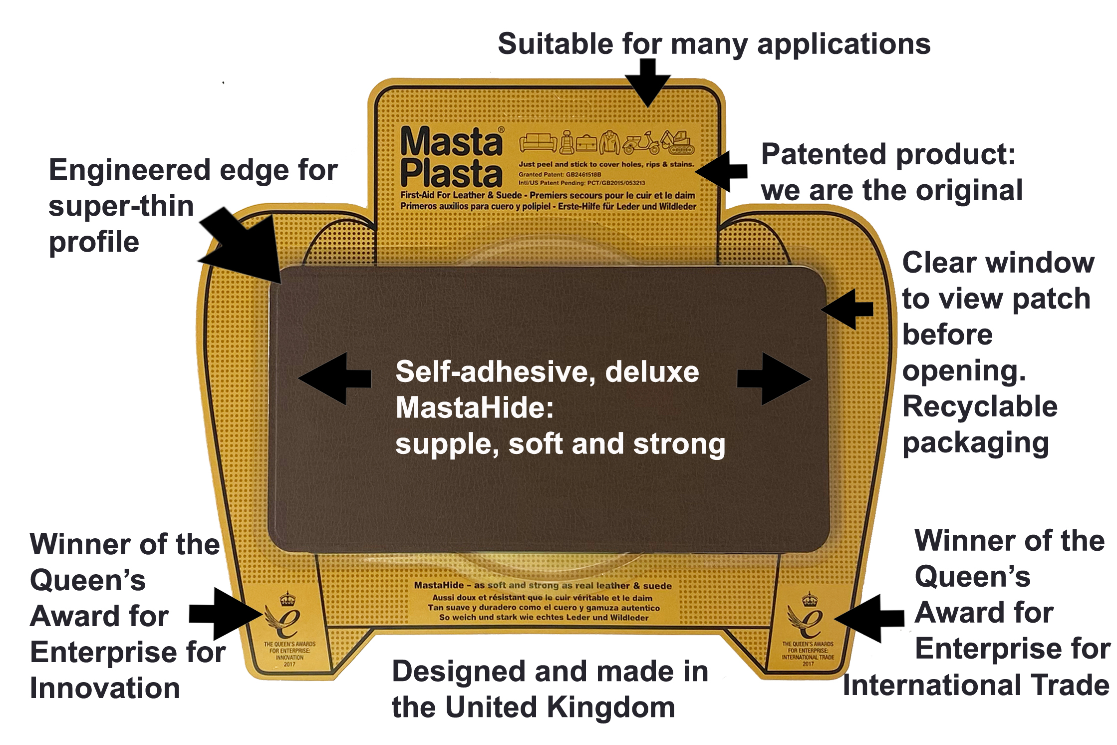 Leather Repair Patch | Medium Plain - 10cm x 6cm MastaPlasta
